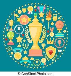 トロフィー, チャンピオン, カップ, prize., concept., 勝者, イラスト, ベクトル, 賞, アイコン, メダル