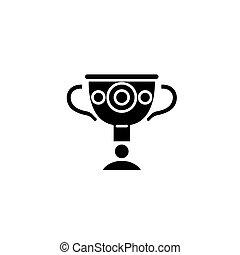 トロフィー, 平ら, illustration., 印, concept., つぼ, ギリシャ語, ベクトル, 黒, シンボル, アイコン