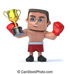 トロフィー, 彼の, チャンピオン, 金のコップ, の上, ボクサー, 把握, 3d