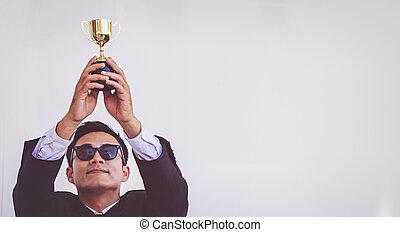 トロフィー, 概念, 保有物, 成功, ビジネスマン