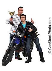 トロフィー, 父, モーターバイク, 息子