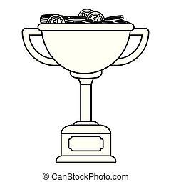 トロフィー, 白, 黒, メダル, カップ