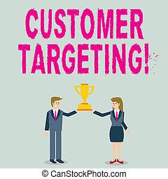 トロフィー, 顧客, 顧客, 概念, 単語, ビジネス, cup., 女, プロセス, テキスト, 一緒に, 執筆, targeting., 選手権, 保有物, スーツ, 人, 市場, defines