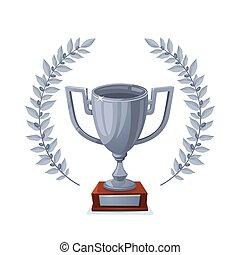 トロフィー, goblet., カップ, 勝者, 賞, バックグラウンド。, wreath., 月桂樹, 白, 銀