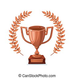 トロフィー, goblet., カップ, 勝者, 賞, バックグラウンド。, wreath., 月桂樹, 白, 銅