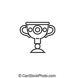 トロフィー, illustration., アイコン, 印, concept., つぼ, ギリシャ語, ベクトル, 線, シンボル, 線である