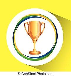 トロフィー, olympic 旗, 色, ゲーム, ブラジル人