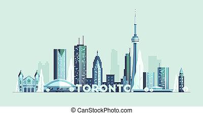トロント, カナダ, シルエット, 都市, 大きい, スカイライン, ベクトル