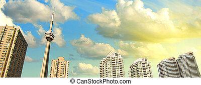 トロント, 超高層ビル, 光景, から, ∥, 桟橋
