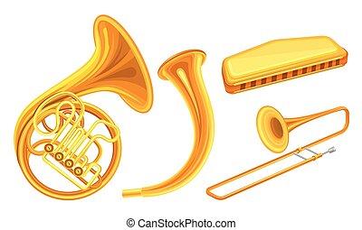 トロンボーン, 金管楽器, ベクトル, セット, 角, ミュージカル