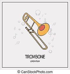 トロンボーン, 隔離された, アイコン