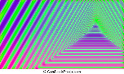 トンネル, ネオン, 三角形, 抽象的