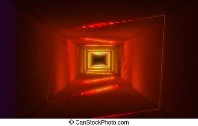 トンネル, ライト, ネオン