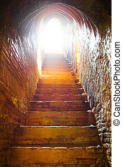 トンネル, ライト, 城, 端