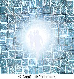 トンネル, ライト, 数字