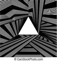 トンネル, ライト, 端, 三角形
