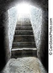 トンネル, ライト, 端