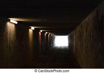 トンネル, ライト, 落書き, 歩行者
