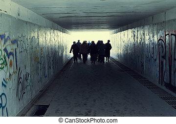 トンネル, ライト, subway., 端, 人々