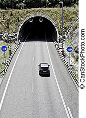トンネル, 上に, ∥, ハイウェー