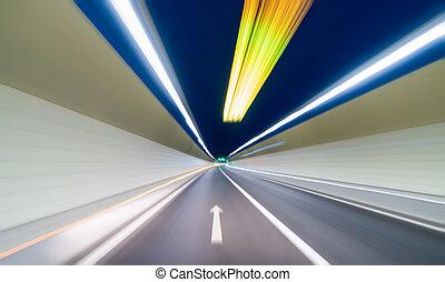トンネル, 動き, 背景, ぼやけ