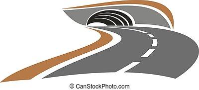 トンネル, 山, 抽象的, 道, アイコン