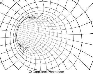トンネル, 抽象的, 格子, 3d