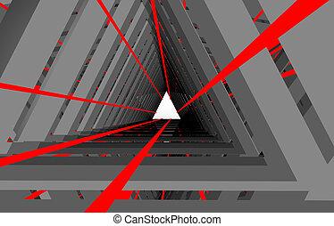 トンネル, 抽象的, .3d, イラスト, 3d