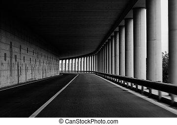 トンネル, 道, 曲がり, コラム