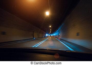 トンネル, incar, 光景, ぼんやりさせられた