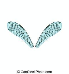 トンボ, スタイル, 漫画, 現実的, アイコン, 翼