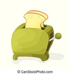 トースター, イラスト, 緑の背景, 白, 漫画