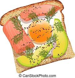 トースト, サンドイッチ, 健全である, bread., 原料, アボカド, fish, 鮭, 食物, イラスト, ビタミン, バックグラウンド。, ベクトル, 黒い海, 白