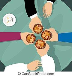 トースト, バー, グループ, 人々, 手, 乾杯, ウイスキー, テーブル, 把握, ガラス