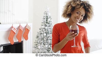 トースト, 女, 若い, 提供, クリスマス