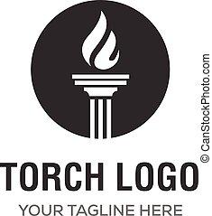 トーチ, 優雅である, デザイン, 贅沢, ロゴ, 炎, インスピレーシヨン