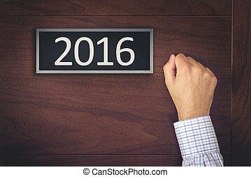 ドア, たたくこと, 新年, ビジネスマン, 2016