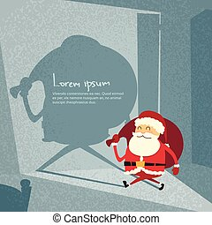 ドア, サンタクロース, 新しい, 漫画, 形, レトロ, 陽気, 年, シルエット, 影, 開いた, クリスマス, 幸せ