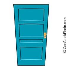 ドア, シンボル, ベクトル, アイコン, 漫画, design.
