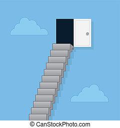ドア, ステップ, 雲