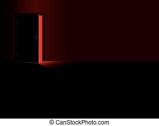 ドア, スリル, 危険, ライト, 開いた, 赤い暗闇