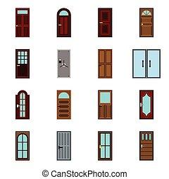 ドア, セット, スタイル, アイコン, 平ら