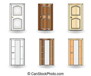 ドア, セット, 背景, 白