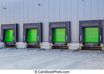 ドア, タラップ, 緑, 分配センター, ローディング