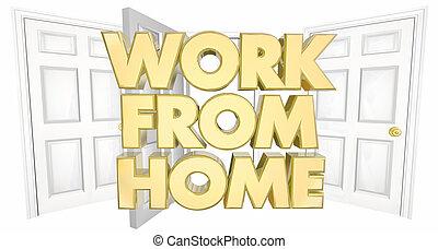 ドア, ビジネス, 仕事, イラスト, 言葉, 家, 開いた, 3d