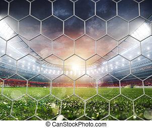 ドア, フットボールマッチ, 競技場, サッカー, 空, 前に