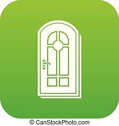 ドア, ベクトル, 緑, アーチ形にされる, アイコン