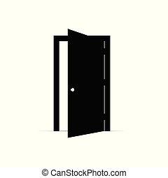 ドア, ベクトル, 開いた, アイコン