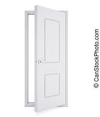 ドア, 上に, rendering., バックグラウンド。, 白, 開いた, 3d