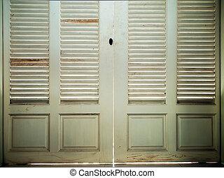 ドア, 中, 古い, 木, 終わり, 白